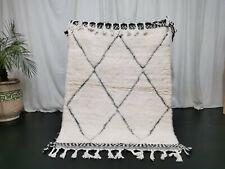Handmade Moroccan Beni Ourain Wool Rug 3'6x4'7 Berber Geometric White Black Rug