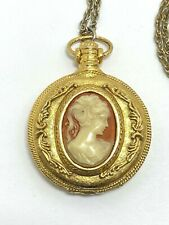 """Vintage Max Factor Cameo Style Solid Perfume Holder Pendant Compact Necklace 28"""""""