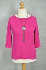 JOULES Pink cotton casual top with anchor buttons UK 16 (BEST FIT 14)
