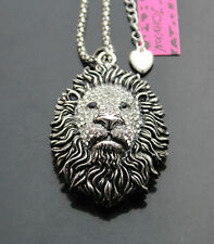 African Lion Head Pendant Necklace A662S Betsey Johnson vintage style w/Crystal