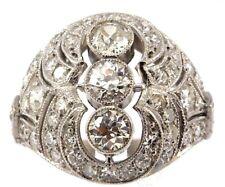 Imposing Art Deco Platinum with Diamond Ring. 2.96 Ctw!!