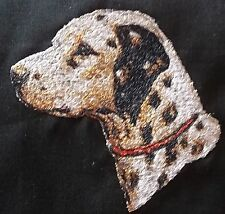 "Embroidered Quilt Block Panel ""Dalmation Dog"" Black Linen Fabric"