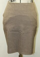Holt & Renfrew Women Skirt Brown Plaid Checkered 30 In Wool Canada Pencil Mini