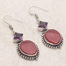 "Dangle Earrings 2"" Ae 23520 Solar Agate Amethyst Handmade Drop"