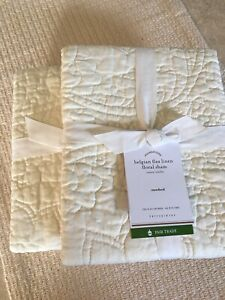 Set/2 Pottery Barn Quilted Belgian Flax Linen Floral Standard Shams Ivory