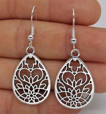 925 Silver Plated Hook - 1 Pair 1.8'' Hollow Waterdrop Flower Party Earrings #61