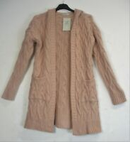 Lagenlook Hooded Cable Knit Chunky Open Front Cardigan Pockets Onesize fits10-14