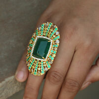 Genuine Emerald Gemstone Diamond Pave Cocktail Ring 18k Yellow Gold Fine Jewelry