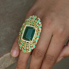 Genuine Emerald Gemstone Diamond Pave Cocktail Ring 18k Yellow Gold Fine Jewelry
