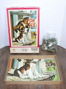 Vintage Milton Bradley Big Eyes Dog, 500 Piece Puzzle COMPLETE Mid Century Retro