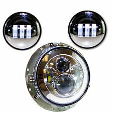 "3pcs Chrome LED Headlight Kit w/Bezel for Harley Motorcycles (7"" and 2x 4.5)"