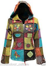 Women Pixie Hooded Love,Peace,Flower Symbols Hippie Cotton Ribs Jacket Outwear