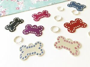 SML/ LRG Bone Shape engraved Pet ID Dog Tag with Swarovski Crystals In 7 Colours
