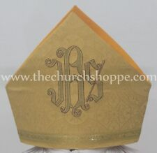 New Yellow Mitre with IHS embroidery,mitra,Bishop's Mitre, New