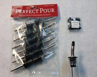 12 Metal POUR SPOUTS & FREE DUST CAPS Chrome Liquor Bottle Flair Pourers  285-50