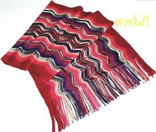 MISSONI ruby red Zigzag POINTELLE 100% wool Large FRINGED scarf IN BOX Authentic