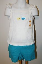 Gymboree Sea Splash Girls Size 4T 4 Fish Top Beach NWT Solid Basic Shorts Knit