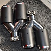 "2PCS Akrapovic Carbon Fiber Exhaust Tip Dual Pipe ID:2.5/"" 63mm OD:4.0/"" 101mm"
