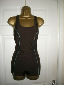 22 BROWN SWIMSUIT SHORTS STYLE RETRO  POWER MESH BUST + TUMMY CONTROL SPORTY NEW