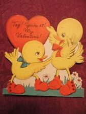 Valentine Card Tag your It . Ducklings Red Shoes Playing Used Vintage