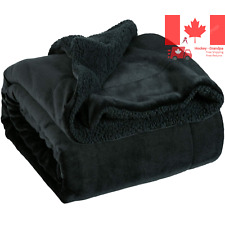 Sherpa Fleece Blanket Throw Size Black Plush Throw Blanket Fuzzy Soft Blanket...