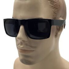 XL MENS Large Black Wide Frame Oversize Gangster Rectangular Shade Sunglasses