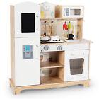 Costway Wooden Kids Pretend Kitchen Playset Cooking Play Toy w/ Utensils & Sound