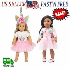 """For American Girl 18"""" inch Dolls Clothes Outfit Fairy Princess Dress Unicorn"""