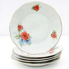 Vintage Iris Cluj Romania Porcelain Floral Set 5 Tea Plates