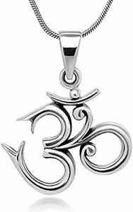 Ohm, OM 925 Silver Pendant on Silver Chain Necklace Yoga for Women and Men