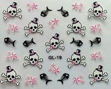 Nail Art 3D Decal Stickers Halloween Skull and Bones w/ Top Hat Fish Bones GL19