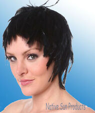 Wig Rooster Hackle Feathers Halloween Costume Punk Retro New BLACK