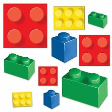 20 Building Blocks Bricks Children's Birthday Party Wall Cutout Decorations