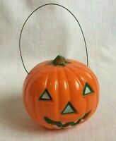 Hard Plastic Halloween Jack O Lantern Light Wire Handle Green and White Eyes