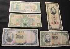 Lot of 5 China Notes - 1928 10 Yuan, 1930 5 Gold Units, 1936 10 Yuan, 1936 5