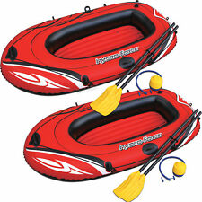 2) HYDRO-FORCE Inflatable Boat Two Person Explorer Raft Set w Paddles and Pump