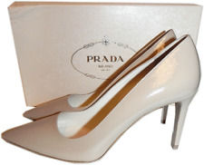 Prada Nude Textured Patent Leather Classic Pointy Toe Pump Shoe 36  New