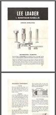 Lee Loader Offical/Discontinued Shot Gun Reloading Instructions-Pdf or Hard Copy