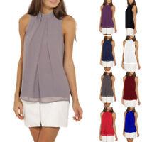 Women Sleeveless Chiffon Vest Shirts Blouse Tops Crewneck Solid T-Shirt Comfort