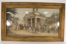 "VTG Original Watercolor? Painting Southern Plantation Wooden Framed 24"" x 40"""