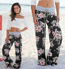 Plus Size Womens Floral Yoga Palazzo Trousers Ladies Loose Wide Leg Pants 8-16