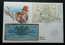 Finland Oldest Swedish - Finnish Postlines Map 1985 FDC (banknote cover) *rare