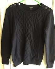 NWT TALBOTS NAVY INDIGO BLUE CREWNECK SWEATER WITH SHOULDER BUTTONS XS
