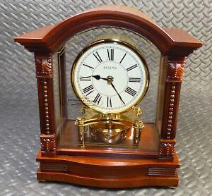 New Bulova Bardwell B1987 Mantle Clock Wood & Brass Beautiful NOS Vintage