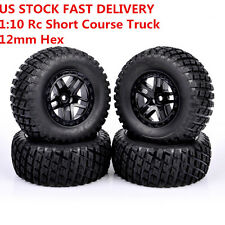 New 4PCS RC 1:10 Short Course Truck Tires & 12mm Rims For TRAXXAS SLASH HPI HSP