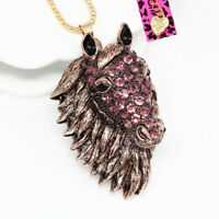 Women's Crystal Big Horse Head Pendant Sweater Chain Betsey Johnson Necklace