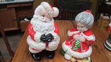 """Vtg Ceramic Mr & Mrs Santa Claus Atlantic Mold 14"""" Figurines"""