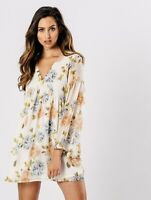 New Womens Cream Floral Print V Neck Flare Sleeves Ladies Smock Mini Dress