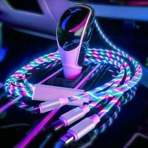 3 in 1 LED Flowing Light Up Charge Cable for iPhone / Samsung / Type C / Android