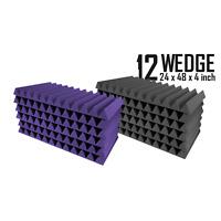 "Acoustic Foam 12 Pack Super Studio Set 6xl BLUE & 6xl GREY Wedge 24x48x4"""